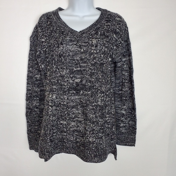 """NEW LADY/'S FADED GLORY BLACK COLORED  POINTELLE V/' NECK/"""" LIGHT WEIGHT  SWEATER"""